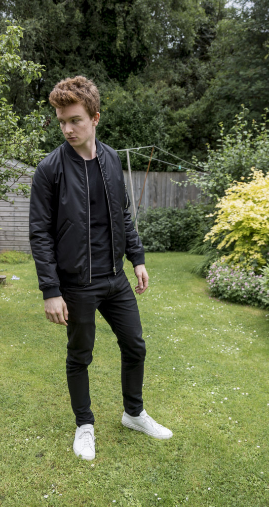 APC bomber, zara tee, levi's 520 jeans (all black), white common projects sneakers