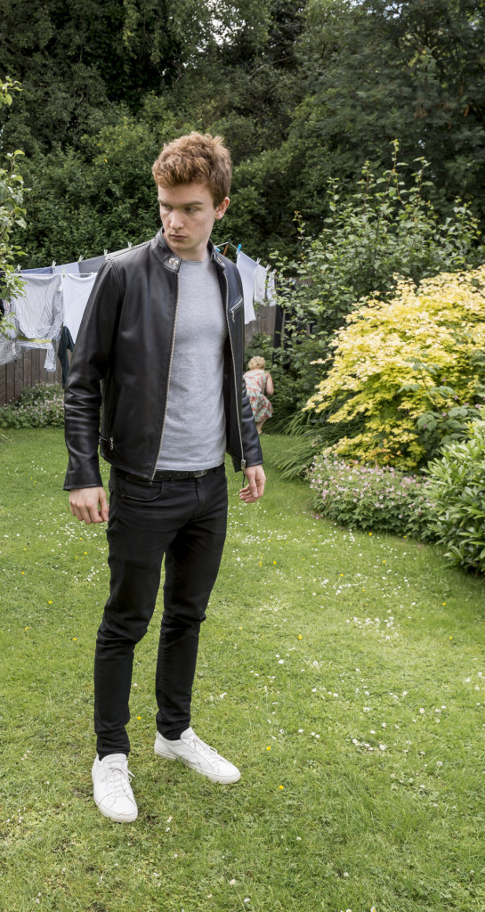 black Schott leather jacket, grey Zara T-shirt, black Levi's 520 jeans, white Common Projects sneakers