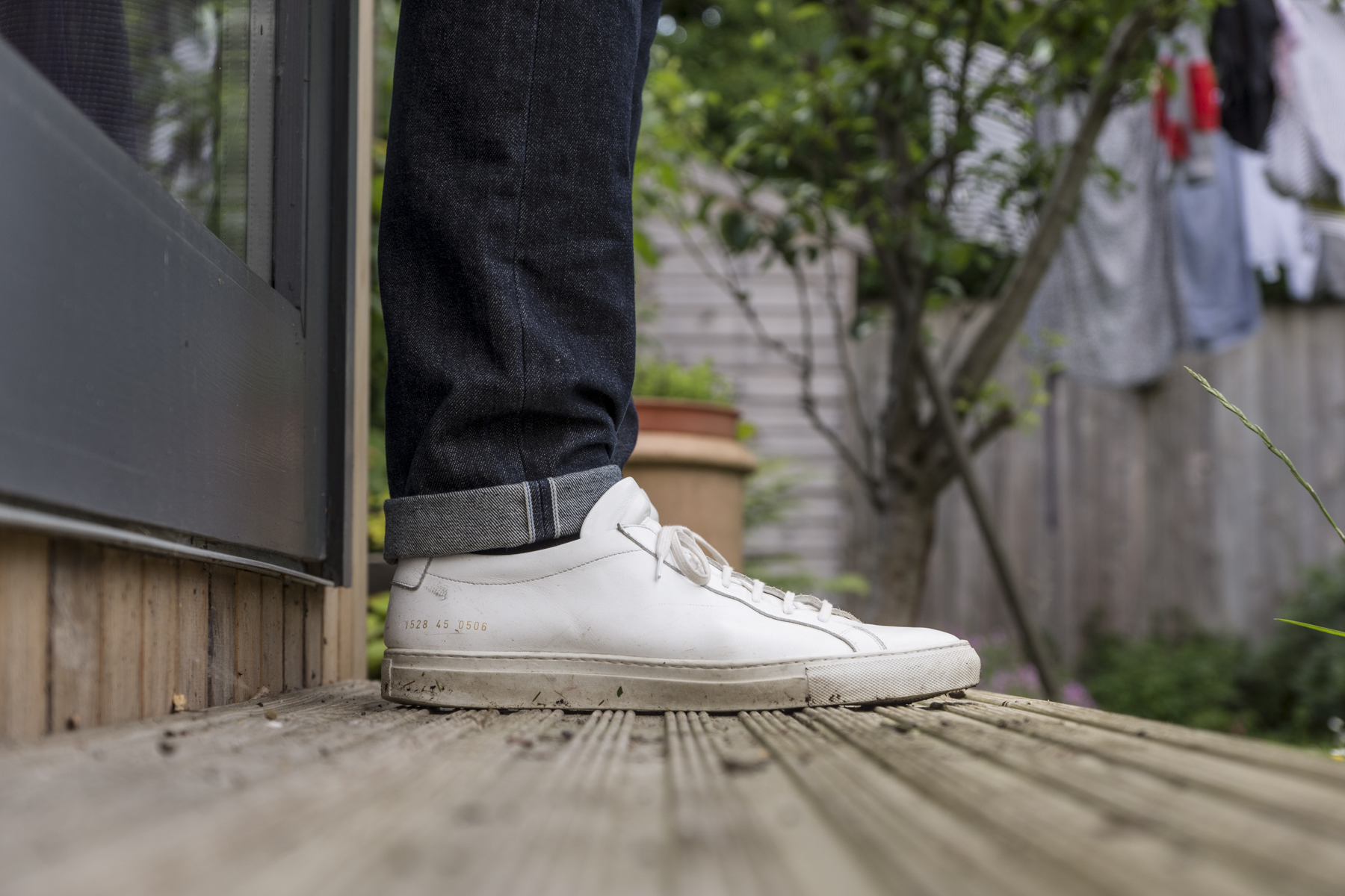 Common Projects Achilles with cuffed UB101s